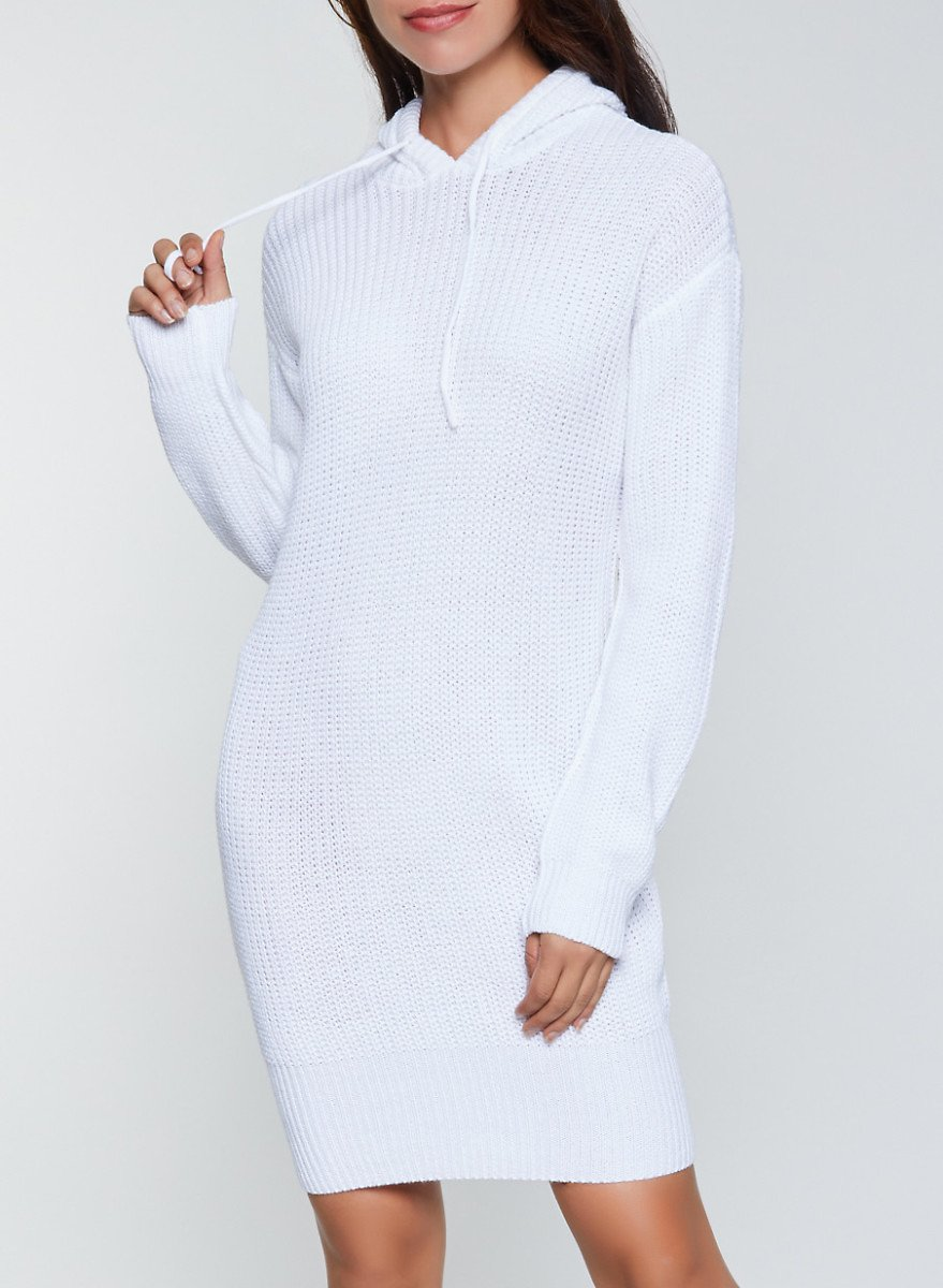 Knitted Hooded Sweater Dress