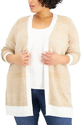 Karen Scott Plus Size Textured Open-Front Cardigan, Created for Macy's & Reviews - Sweaters - Plus Sizes