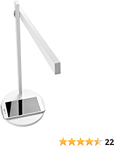 Newhouse Lighting NHDK-AD-WH Adonis Minimalist Modern LED Desk Lamp with Fast Wireless Charger for IPhone, Samsung & Qi-Enabled Phones, 3 Brightness Levels & 3 Color Modes, White