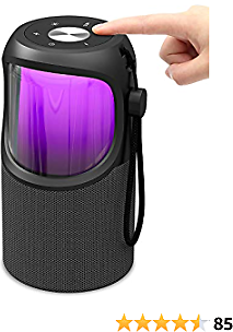 LED Portable Wireless Bluetooth Speaker - JUSTNEED Waterproof 360° Loud Stereo Speaker with 11 Changing RGB Colors Light for Home Party Camping Beach, Grey
