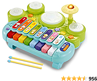 Amazon : 3 in 1 Musical Instruments Toys, Electronic Piano Keyboard Xylophone Drum Set For $27.19($49.99) + Prime Shipping