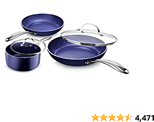 Granitestone Blue Pots and Pans Set 5 Piece Cookware Set with Ultra Nonstick Durable Mineral For $39.99($49.99) + Prime Shipping