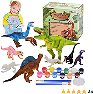 YOUAU Kids Arts and Crafts Painting Set, Dinosaur Toys Toddler Craft Supplies Party Favors for Boys Girls Age 3 4 5 6 7 8, Birthday Easter Gifts Kids Activities, Paint Your Own Dino