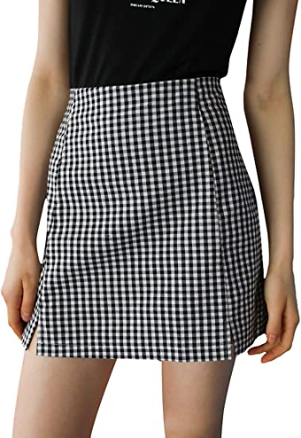 Save 65% On Plaid Split Hem High Waist Skirts with Promo Code 65G9KD22 On Amazon.com