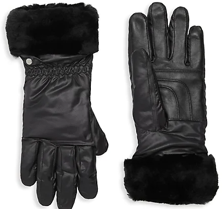UGG Water-Resistant Nylon & Shearling-Cuff Gloves On SALE | Saks OFF 5TH