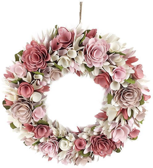 Bloom Room Spring 19in Woodchip Wreath - Pink & White
