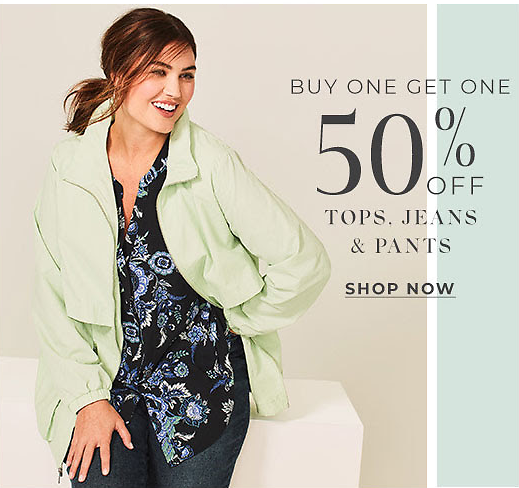Buy One Get One 50% OFF Tops, Jeans and Pants