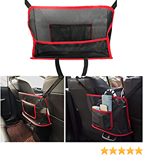 MIUJEE Car Net Pocket Handbag Holder Between Front Seats, Purse Holder Storage Bag Interior Mesh Organizer, Console Pouch Accessories for Cars Trucks SUV Women, Keep Clean and Tidy, Red