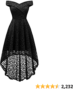 Homrain Women's Wedding Formal Casual Fall Dresses Off Shoulder Vintage Floral Lace Hi-Lo Bridesmaid Dress