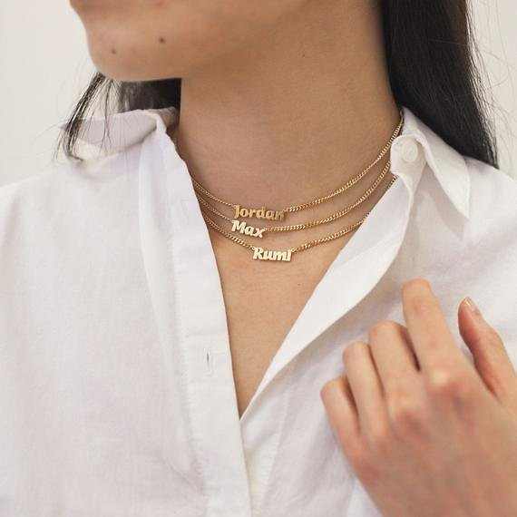 Custom Name Necklace with Bold Curb Chain - Custom Name Necklace - Graduation Gift - Birthday Gift - Christmas Gift #PN02F189SL22