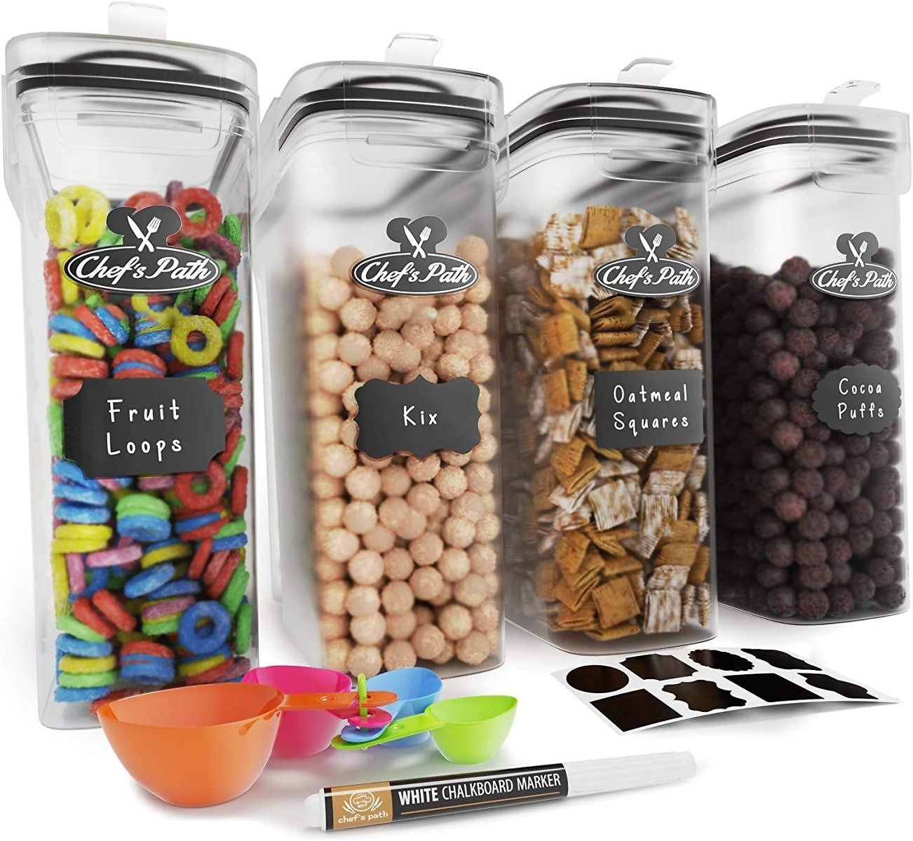 15% Discount - Cereal Container Storage Set 8 Labels, Spoon Set & Pen, Great for Flour - BPA-Free Dispenser