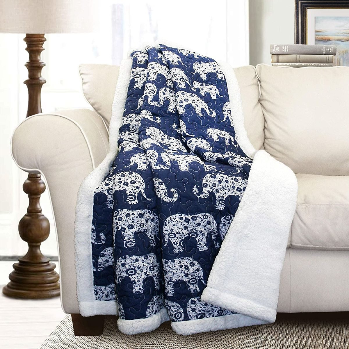 "Lush Decor Navy Elephant Parade Throw Fuzzy Reversible Sherpa Blanket 60"" X 50 White, 60 X 50"