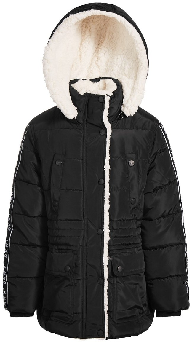 DKNY Big Girls Puffer Coat with Fleece Lining (3 Colors)