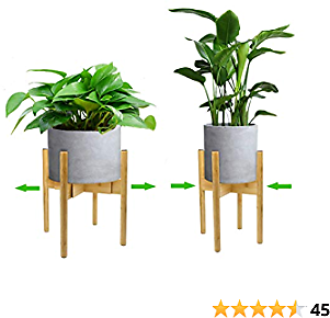 Plant Stand Indoor-Mid Century Plant Stand Adjustable Modern Plant Holder Bamboo Fit 8 9 10 11 12 Inches Pot Sizes