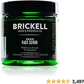 Brickell Men's Renewing Face Scrub for Men, Natural and Organic Deep Exfoliating Facial Scrub Formulated with Jojoba Beads, Coffee Extract and Pumice, 4 Ounce, Scented