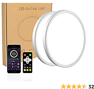 2 Pack LED Flush Mount Ceiling Light, Smart App Control, 12inch High Bright 3100lm, Super Slim Ceiling Light, Color Adjustable, Dimmable Ceiling Light for Bedroom,Living Room, Dining Room (White)