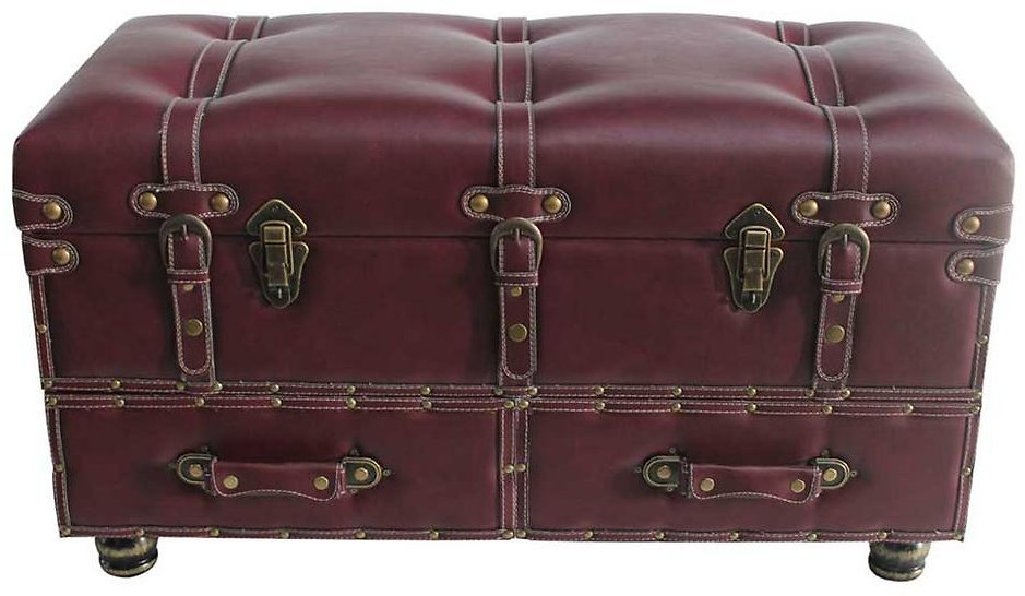 River of Goods Burgundy Faux Leather Trunk