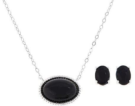 Sevilla Silver™ Oval Gemstone Necklace and Earring Set - 9252583 | HSN