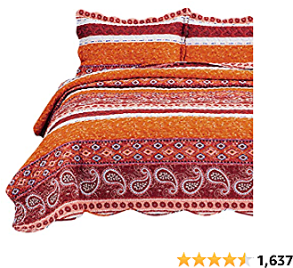 Bedsure 2-Piece Red Stripe Quilt Set Twin Size (68×86 Inches) - Reversible Paisley Boho Printed Quilt Coverlet, Lightweight Soft Microfiber Bedspread for All Season - 1 Quilt and 1 Pillow Sham