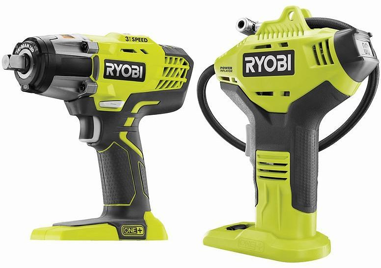 RYOBI 18V ONE+ Cordless 1/2 In. Impact Wrench and Power Inflator Kit (Tools Only)-P261737DN