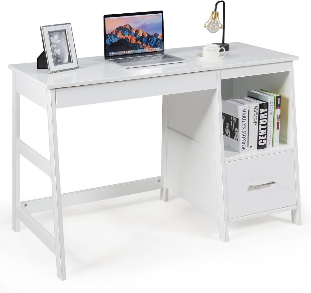 Costway 47.5'' Computer Desk Trestle Desk Writing Study Workstation w/ Shelf & 2 Drawers