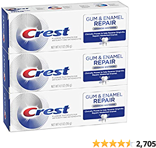 3-Count Crest Gum & Enamel Repair Toothpaste, Advanced Whitening, 4.1oz (Pack of 3) ( Packaging May Vary )