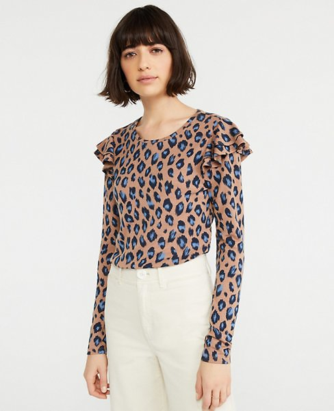 Animal Print Ruffle Shoulder Top | Ann Taylor