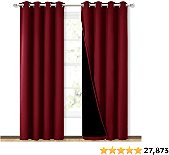 NICETOWN 100% Blackout Curtains with Black Liner Backing, Thermal Insulated Curtains for Living Room, Noise Reducing Drapes, Bur