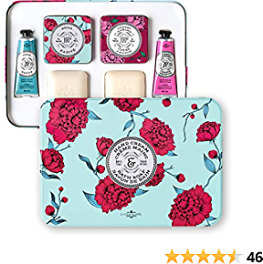 La Chatelaine Luxury Travel Soap & Hand Cream Collection | Plant-Based, Made in France with Organic Shea Butter, Featuring 1 Shea Soap and Lotion, and 1 Cherry Almond Soap and Lotion & 2 Elegant Travel Tins