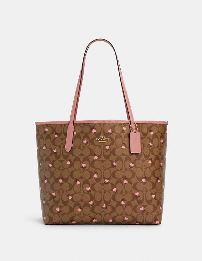 City Tote in Signature Canvas with Heart Floral Print