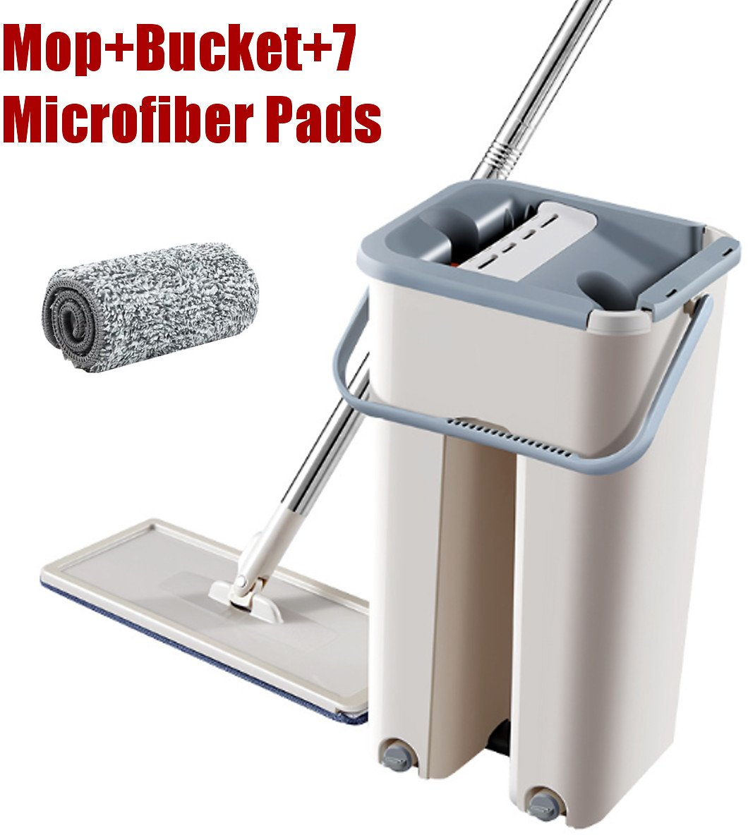 Microfiber Flat Mop with Bucket, Cleaning Squeeze Hand Free Floor Mop, with Reusable Mop Pads, Stainless Steel Handle