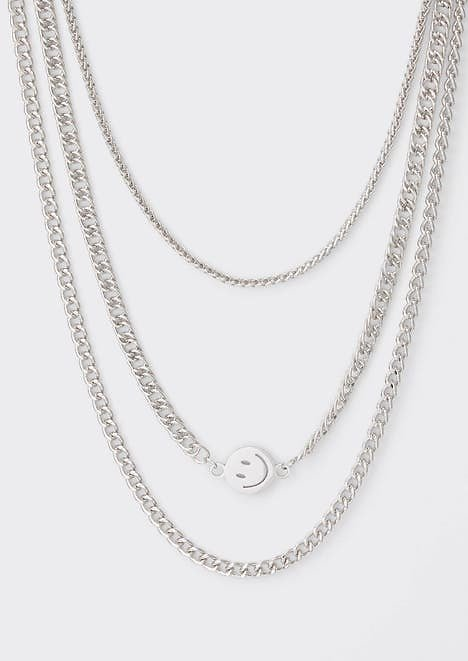 3-pack Silver Smiley Face Mixed Chain Necklace Set