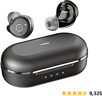 TOZO NC9 Hybrid Active Noise Cancelling Wireless Earbuds, ANC in Ear Headphones IPX6 Waterproof Bluetooth 5.0 TWS Stereo Earphones, Immersive Sound Premium Deep Bass Headset,Black