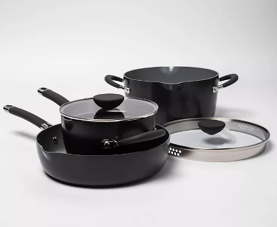 5pc Ceramic Non-Stick Aluminum Stackable Cookware Set