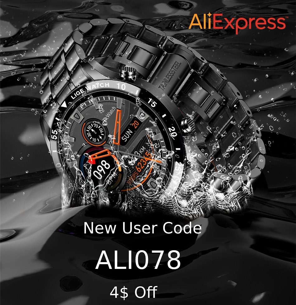 Take 91% Off + 4$ Off On LIGE New Smart Watch
