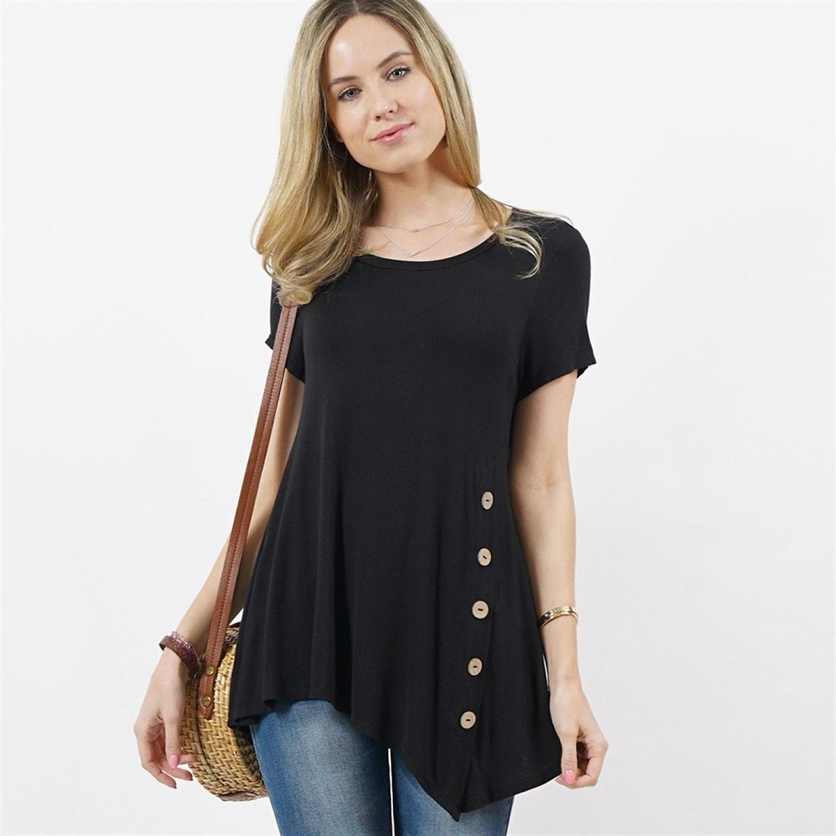 55% Off Short Sleeve Asymmetrical Side Button Tunic (Mult. Colors) + F/S