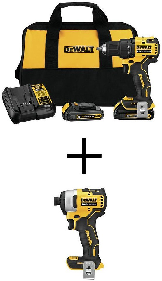 DEWALT ATOMIC 20-Volt MAX Cordless Brushless Compact 1/2 In. Drill/Driver with ATOMIC 20-V Brushless Impact Driver (Tool-Only)-DCD708C2W809