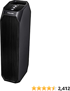 Toshiba Feature Smart WiFi Purifier, True HEPA Air Cleaner, Designed for Allergies, Pollen, Pets, Odors, Smoke and Dust, Works with Alexa, Black, 26'