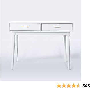 White Writing Computer Desk with 2 Storage Drawers for Home Office,Modern Laptop PC Table Workstation, Vanity Table (White)
