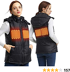 MYHEAT Men Women's Puffer Heated Vest with Detachable Hood (Battery Included)