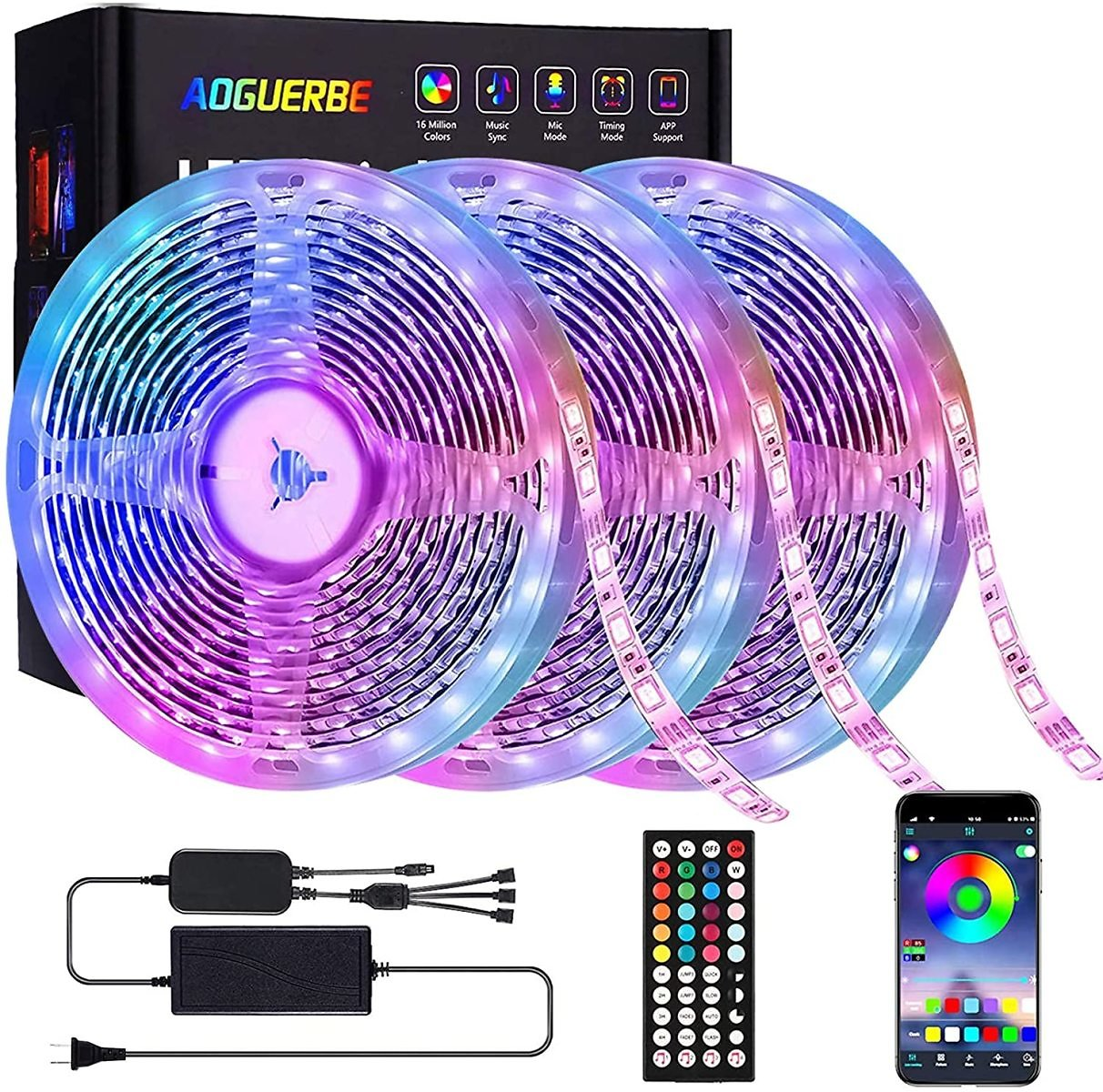 34% Discount - Aoguerbe Led Strip Lights 50 Feet Music Sync Color Changing Led Light Strips