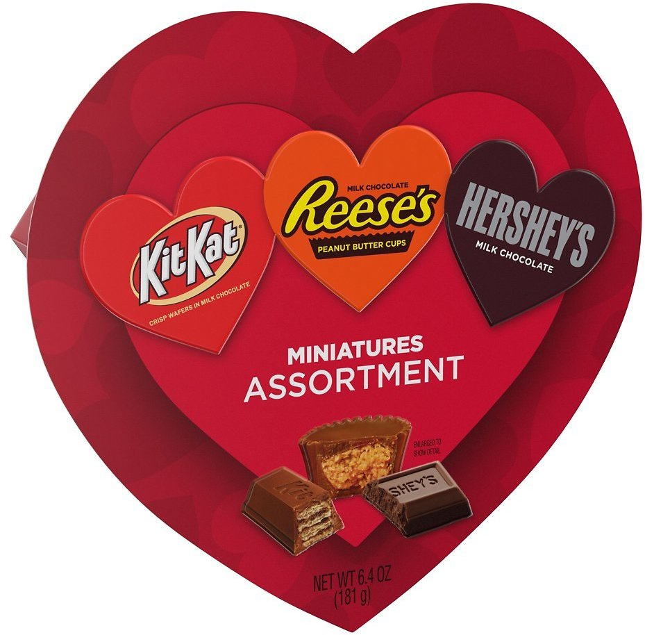 Hershey, Miniatures Assorted Milk Chocolate Candy, Valentine's Day Gift, 6.4 Oz., Heart Gift Box