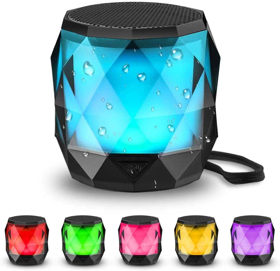 LFS Portable Bluetooth Speaker with Lights, Night Light LED Wireless Speaker,Magnetic Waterproof Speaker, 7 Color LED Auto-Chang