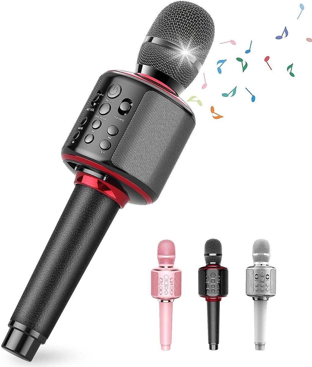 Wireless Bluetooth Karaoke Microphone with Dual Sing, Leather Portable Handheld Mic Speaker Professional Machine for IPhone/Andr
