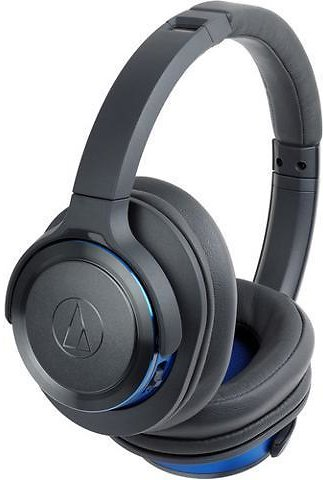 Audio-Technica ATH-WS660BTGBL-RB Solid Bass Bluetooth Wireless Over-Ear Headphones with Built-In Mic & Control, Black/Blue