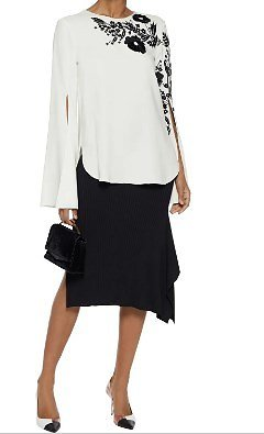 Embroidered Silk-blend Crepe Top