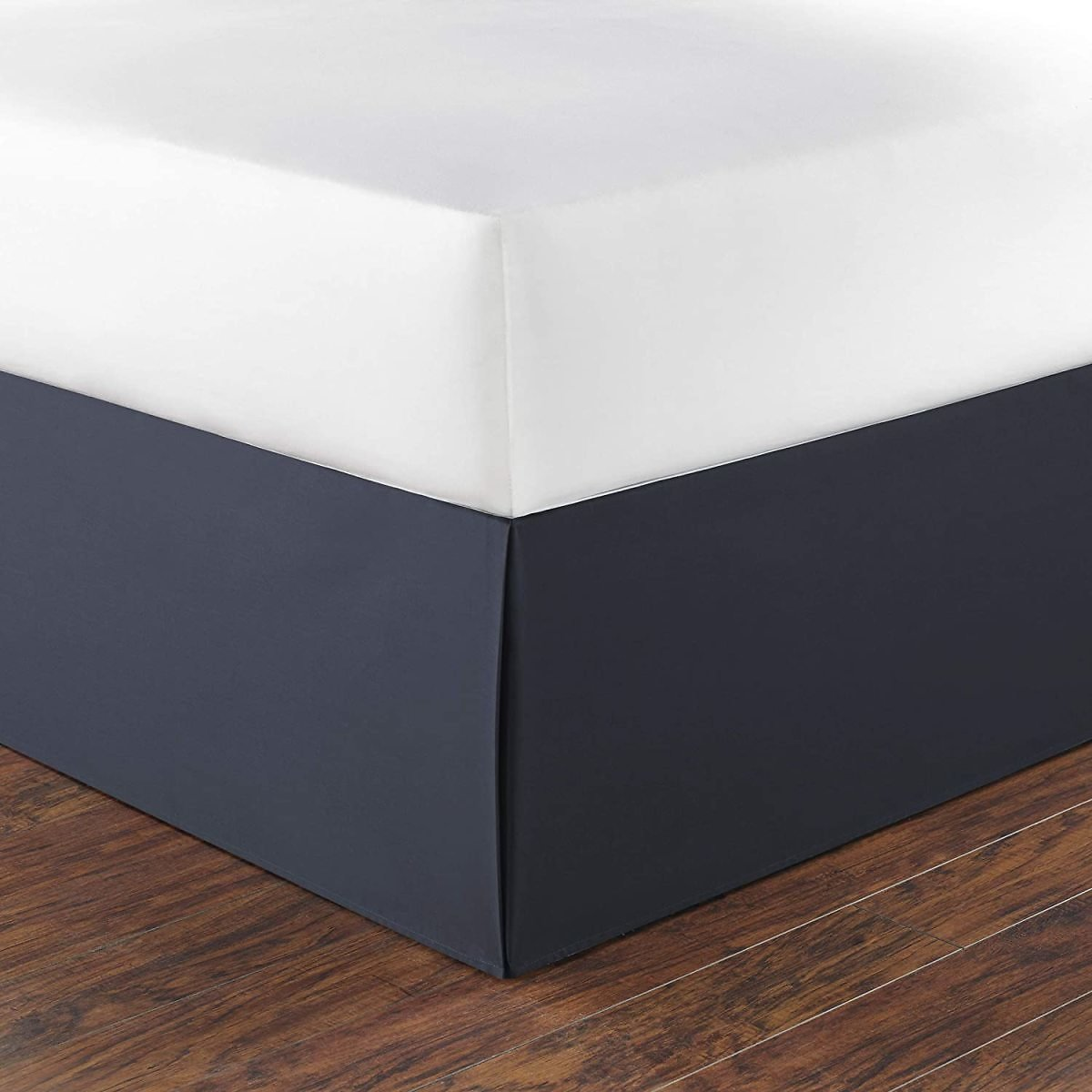 Nautica Home Collection 100% Cotton 15-Inch Drop Bedskirt Dust Ruffle, Split Corners for Easy Fit, Queen, Navy