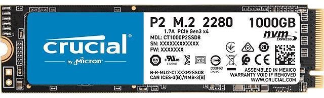 Crucial P2 1TB 3D NAND NVMe PCIe M.2 SSD Up to 2400 MB/s - CT1000P2SSD8