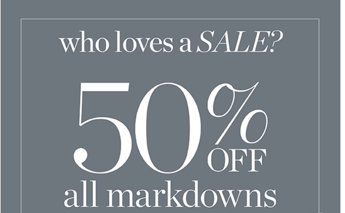 50% Off Markdowns + Extra 30% Off Pop-Up Sales