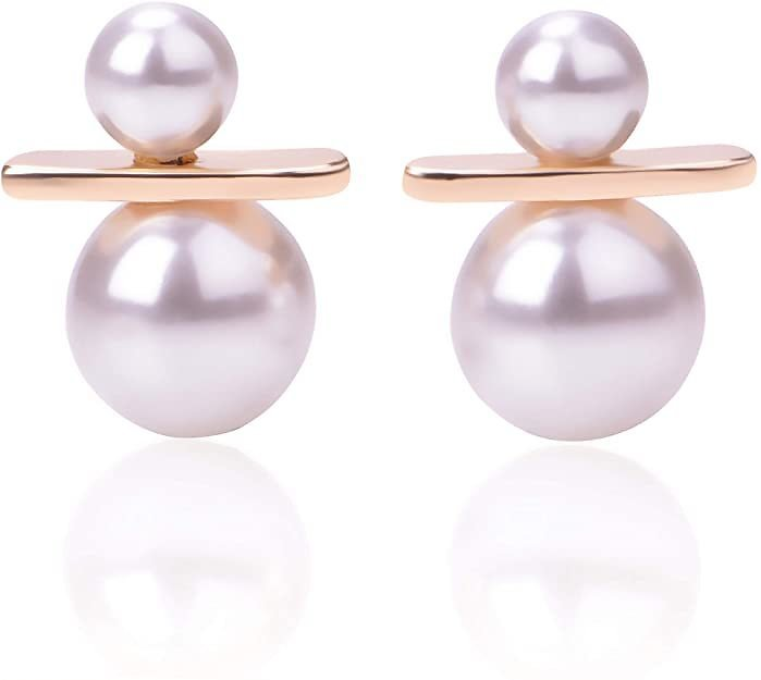 Gvanni S925 Sterling Silver Post 14K Gold Plated Simulated Shell Pearl Drop Earrings